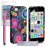 YouSave Accessories Custodia con Stilo Penna per iPhone 5C in Silicone Gel, Meduse, Multicolore