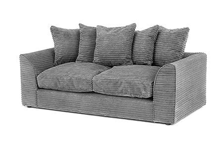 (UK Stock) Porto Jumbo Canapé d'angle en tissu de chenille Gris, Tissu, gris, Jumbo Cord 3 Seater