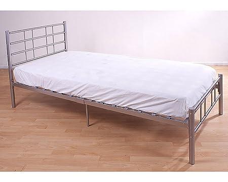 3ft Bett aus Metall in Silber