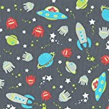 Space Race Children's Fabric - space rockets, flying saucers, planets, aliens and stars - sky blue, red, green, silver grey and white on an anthracite grey base cloth 100% Cotton Designer Print 155 cm (61 inches) wide Per half metre