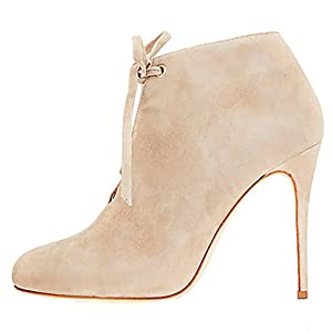 Mavirs Women's Beige Suede-covered Lace-up Shoes Rounded Toe Stiletto Heel Ankle Booties for Daily Dress Party 4 M US