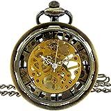 [モノジー] MONOZY アンティーク 手巻き 機械式 懐中時計 ギアケース 【選べる色】 両面 スケルトン 【収納袋、化粧箱】 レトロ 懐中時計 (2) ブロンズ)