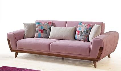 Luxus Sofa 3 Sitzer und 2 Sitzer Sessel Azra Selbstauswahl der Stoffe in 3 Mustern (1x Sofa, 3 Sitzer)