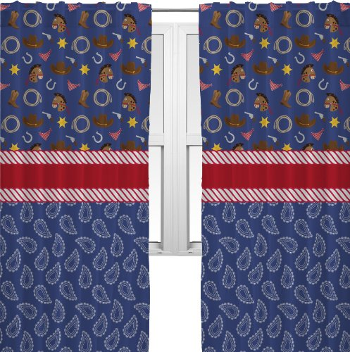 Blue Western Curtains - 80X84 Unlined front-666836