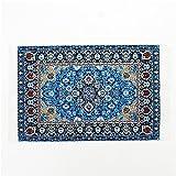 1:12 Blue Floral Print Vintage Carpet Rug Blanket Miniature Dollhouse