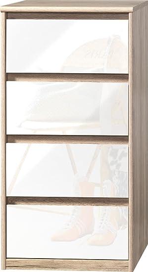 CS Schmalmöbel 75.185.147/21 Grifflose Kommode Soft Plus Smart Typ 21, 45 x 55 x 110 cm, sanremo hell/weiß hochglanz