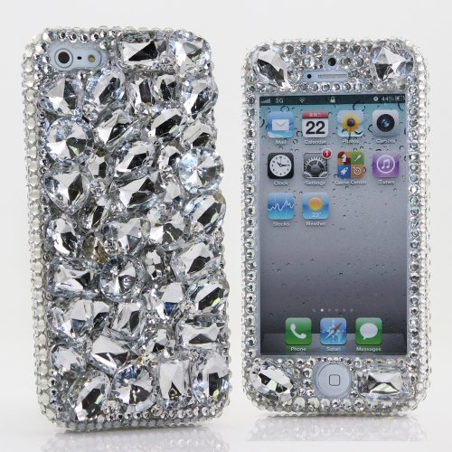 Great Price Luxury iphone 5 5S Bling Case Cover Faceplate 3D Swarovski Crystal Diamond Silver Stones Design Front & Back case (100% Handcrafted by BlingAngels)