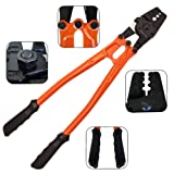 14'' Wire Rope Crimping Tool for Stainless Steel Cable Railing Fittings 1/8, 7/64, 3/32, 5/64, 1/16''. Cable Swaging Tool/Swager Tool for Steel, Copper, Aluminium Sleeves, Crimp Ferrules & Terminals (Color: Orange-Black)