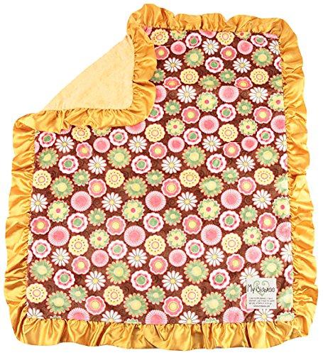 """My Blankee Posy Party Minky Brown w/ Minky Dot Mango Baby Blanket, 30"""" x 35"""""""