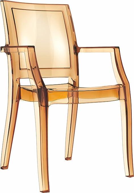 Acrilico Plexiglas poltrona Arthur Ghost, molto stabili e impilabili! IMMAGINE in ambra trasparente.