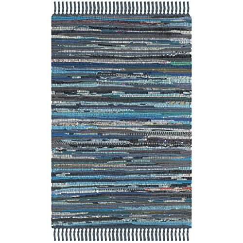 Safavieh Rag Rug Collection RAR121C Hand Woven Ink and Multi Cotton Area Rug, 2 feet by 3 feet (2' x 3')