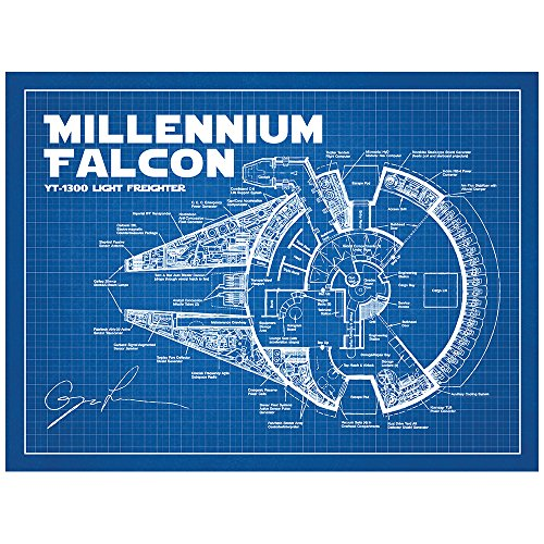 Buy three awesome star wars blueprint style poster art sci fi and fantasy star wars millennium falcon blueprint design art poster 18 x 24 inch silk screen print blue grid white ink malvernweather Gallery