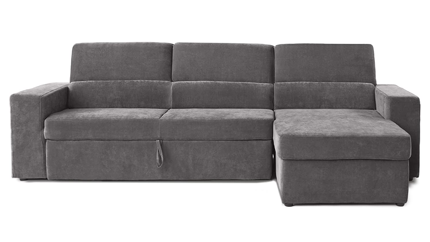 Gray/Green Clubber Sleeper Sectional Sofa - Right Chaise