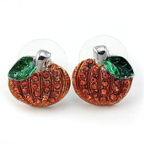 Small Cute Happy Halloween Fall Thanksgiving Pumpkins Post Stud Pierced Earrings