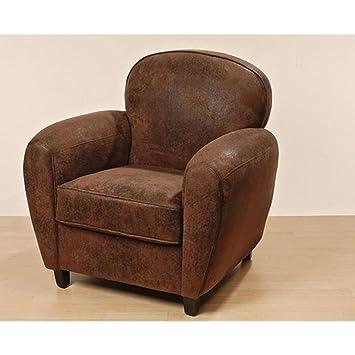 Sessel Modell Eton in braun aus Kunstleder, ca. 83 cm x 77 cm x 81 cm