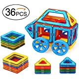 Quadpro 36 Piece Magnet Tiles Magnetic Building Blocks For Kids, Standard Set With Wheel
