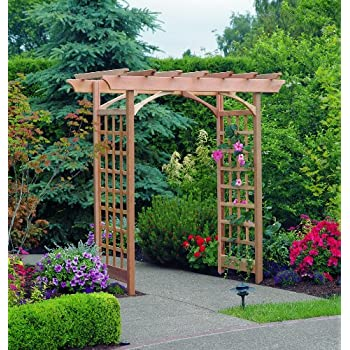Arboria Berkeley Arbor Cedar Wood Large Depth Over 7ft High Pergola Design with Adjustable Size Walkway Opening
