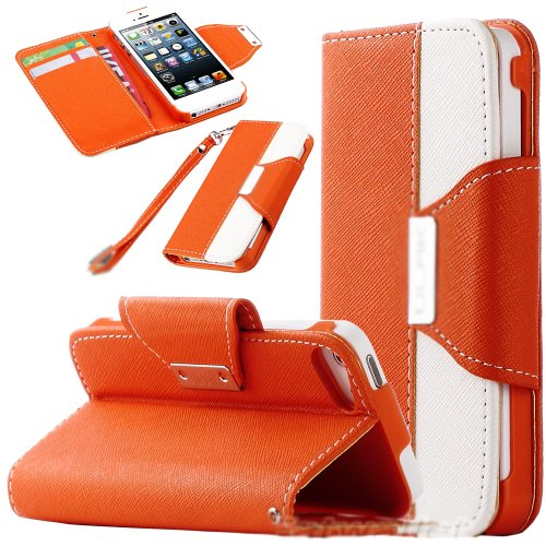 Mylife (Tm) Orange And White Fashion Design - Textured Koskin Faux Leather (Card And Id Holder + Magnetic Detachable Closing) Slim Wallet For Iphone 5/5S (5G) 5Th Generation Itouch Smartphone By Apple (External Rugged Synthetic Leather With Magnetic Clip