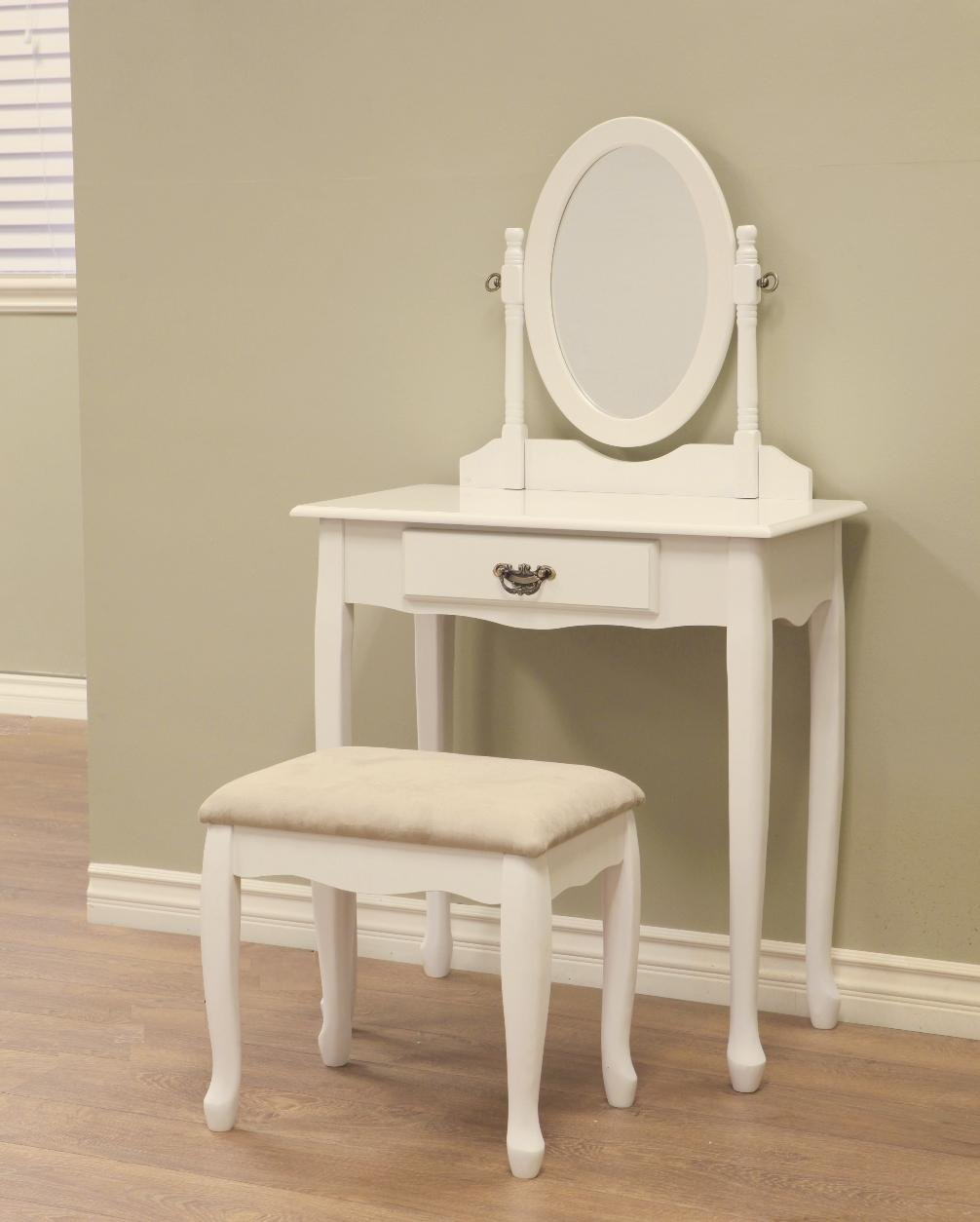 Vanity Dressing Table Stool SET Bedroom Furniture White Storage Drawer MIRROR