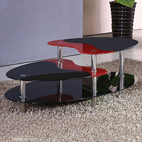 Home Source 24624 3-Tier Contemporary Glass Coffee Table, 43 by 24 by 18-Inch, Black/Red (Coffee Table Red And Black compare prices)