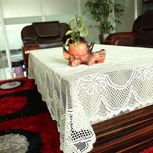 Meleg Otthon White Beige Floral Lace Tablecloth Vinyl Quaker Vintage Square Lace Tablecloth Table Covers Overlay Tablecloth Lace Table Runners Crochet Tablecloth (59 inchesx98.5 inches, beige) (Vintage Floral Tablecloth compare prices)