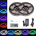 LTROP 2 Rolls 32.8ft 300 LED Strip Lights Kit, Non-waterproof flexible RGB Color Changing SMD 5050 Light Strip with Mini 44 Key IR Controller and 12V 5A Power Supply by LTROP