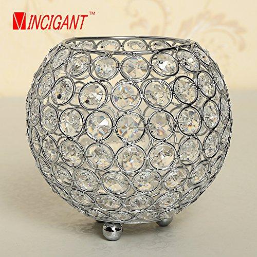 VINCIGANT Decorative Candle Lantern Romantic Sparkle Silver Crystal Jewel Bowl Pillar Candle Holder Stand 6 inch Diameter for Home Decor Wedding Centerpieces