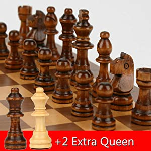 15 x 15 Magnetic Wooden Folding Chess Set with 2 Extra Queens, Handmade Game Board Interior for Storage for Adult Kids Beginner Large Chess Board Gift (Tamaño: 15'')