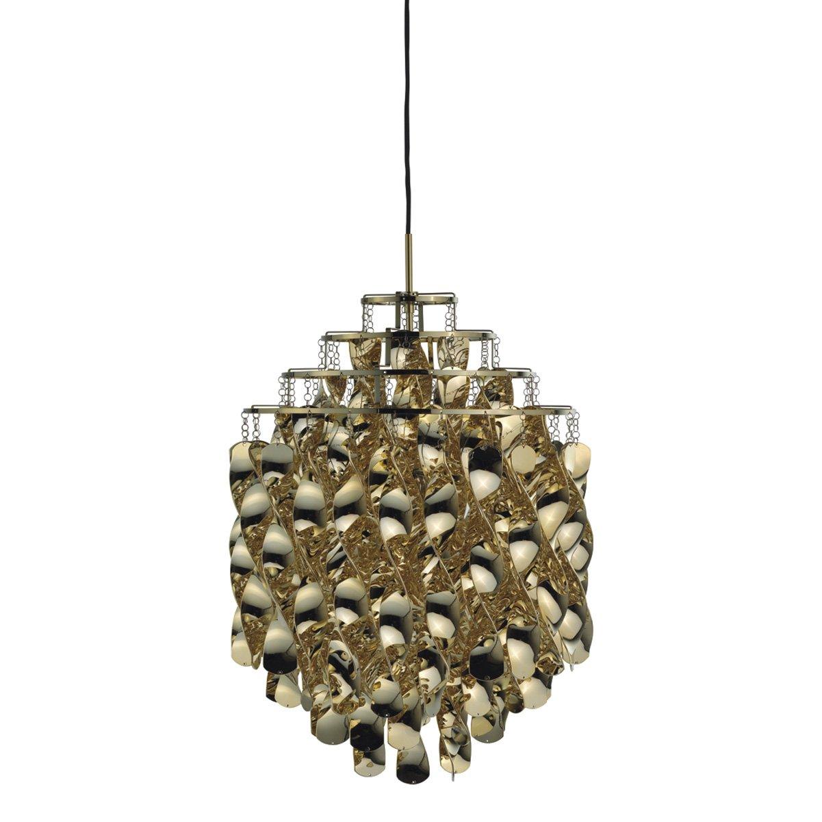 VerPan Pendelleuchte Spiral SP01 (1969) / Gold Cellidor Nylon / ø 45 cm Pendellänge 400 cm 10705555001036