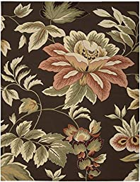 Rug Squared Laurel Floral Area Rug (LA11), 8-Feet by 10-Feet 6-Inches, Chocolate