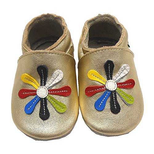 Sayoyo Baby Flower Soft Sole Leather Infant Toddler Prewalker Shoes (6-12 months, Gold)