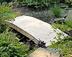 6' Red Cedar Crescent Moon Plank Bridge