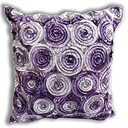 'ENJOY SMILE ''(Single) Two Tone 3d Bouquet of Purple Roses Throw Cushion Cover/pillow Sham Handmade By Satin and Thai Silk for Decorative Sofa, Car and Living Room Size 16 X 16 Inches from THAI SILK