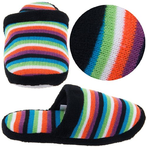Image of Black Striped Knit Slippers for Women (B004Z23ZEC)
