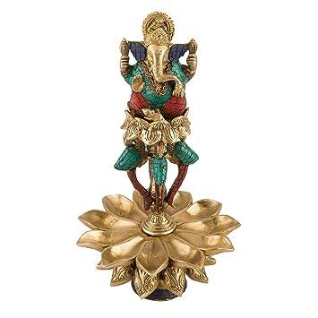 "15"" Diya Oil Lamp Ganesh Idol Brass Sculpture Puja Light Stand Ganesh Statue Diwali Decor Gifts"