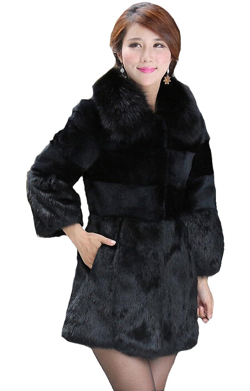 Queenshiny Damen 100% Echte Kaninchen Pelz Lang Mantel Jacken Mit Fuchs Pelz Kragen Winter Mode kaufen