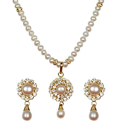 Classique Designer Silver Alloy With Gold Plated Round Pearl Necklace Set For Women(CP186) at amazon