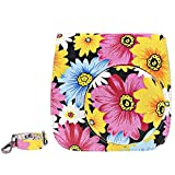 Elvam Yellow Flower Floral Fujifilm Cotton Canvas Instax Mini 8 / Mini 8+ Instant Film Camera Case Bag w/ a Removable Bag Strap