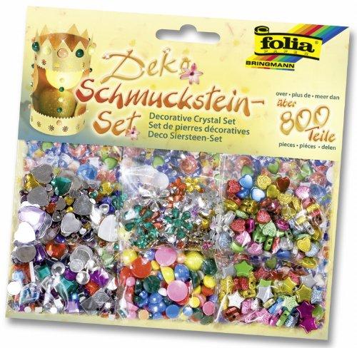 Folia 12419 - Schmucksteine-Set, über 800 Teile, Formen, Größen und Farben sortiert