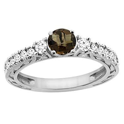 14ct Yellow Gold Natural Smoky Topaz Round 6mm Engraved Engagement Ring Diamond Accents, sizes J - T