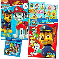Paw Patrol Coloring Book Super Set - 2 Coloring and Activity Books, Over 30 Stickers and Jumbo Toddler Paw Patrol Crayons