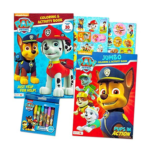 Paw Patrol Coloring Book Super Set 2 Coloring And Activity Books Over 30 Stickers And Jumbo Toddler Paw Patrol Crayons