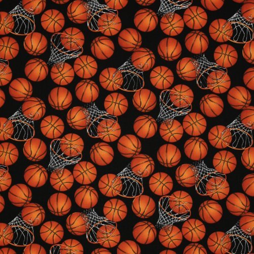 Timeless Treasures Sports B-Ball Basketballs and Hoops Black, 44-inch (112cm) Wide Cotton Fabric Yardage (Basketball Quilt compare prices)