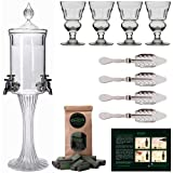 Absinthe Fountain Set Heure Verte | 1x Absinthe Fountain | 4x Absinthe Glasses | 4x Absinthe Spoons | 1x Absinthe Sugar Cubes | Drink Absinthe the traditional way! (Color: Clear Glass)