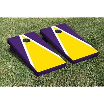 Fine Bright Gold Purple Triangle Cornhole Boards Bean Bag Toss Evergreenethics Interior Chair Design Evergreenethicsorg