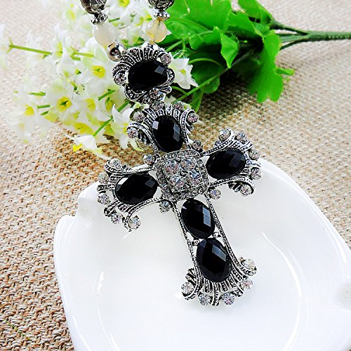Beautiful Bead Black Opal Cross Pendant Necklace Black Beads Sweater Chain for Teen Girls(1Pcs)