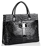 Chic Black MAXX Crocodile Print Synthetic High Gloss Office Tote Top Handle Satchel Handbag Briefcase Purse thumbnail