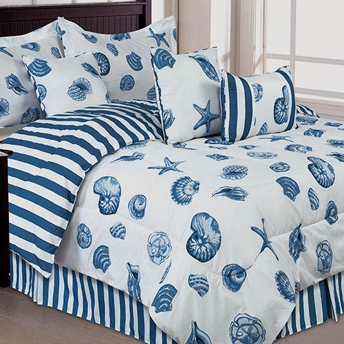 Blue And White Strips, Nautical Seashell Beach Queen Comforter, Bed Skirt, Shams, And Bonus Decorative Pillows (7 Piece Bed In A Bag)