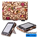 All New 2013 Kindle Paperwhite Standing Cover By Thankscase with Good Quality Smart Owl Fabric Cover Case for 2013 New Kindle Paperwhite and Kindle Touch and Kindle 4th with Standing with Hd Screen Protector.