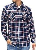 (ルーシャット) ROUSHATTE シャツ メンズ 長袖 カジュアル チェック 4color M ネイビー